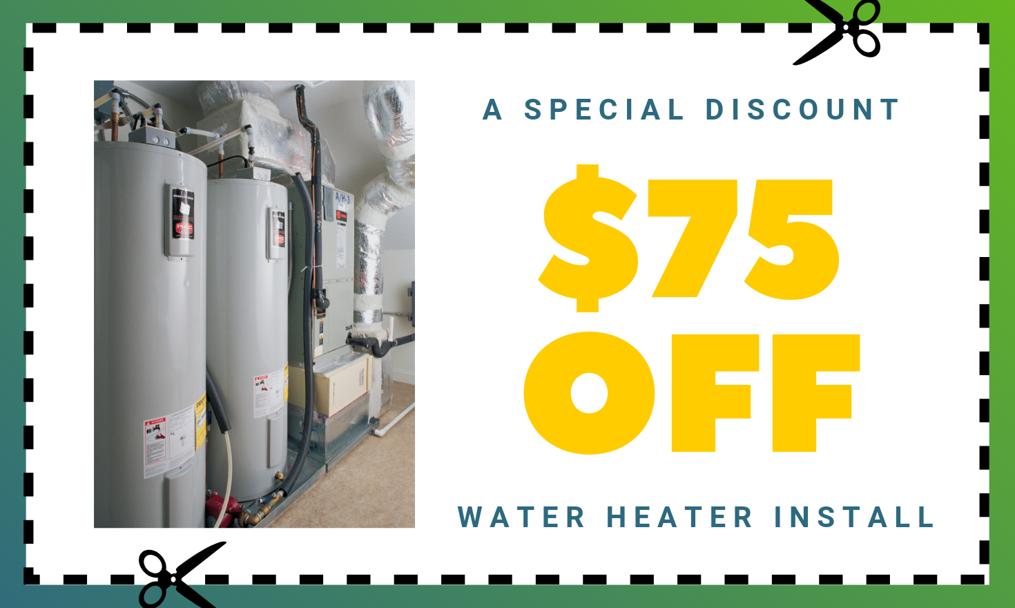 $75 Off Your Hot Water Heater Install